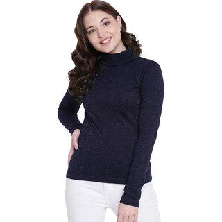 Texco Navy Lurex Roll Neck Winter Sweatshirt/Skivvy