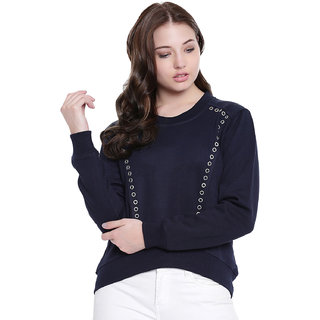 Texco Navy High Low Studs Detailing Winter Sweatshirt
