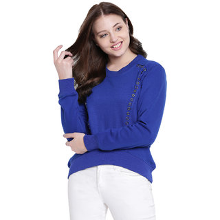 Texco Blue High Low Studs Detailing Winter Sweatshirt