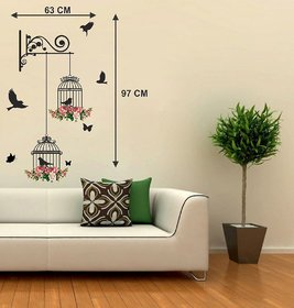 Wall Dreams Multicolor PVC Flying Birds With Cage Wall Sticker Pack of 1
