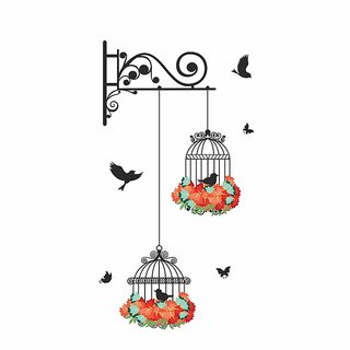 Wall Dreams Flying Birds with Cage Multicolor PVC wall sticker
