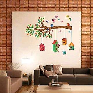 EJA Art Bird House on a Branch Wall Sticker Material  PVC Pec  1