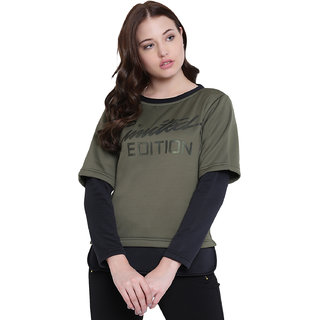 Texco Olive,Green Non Hooded Sweatshirt for Women