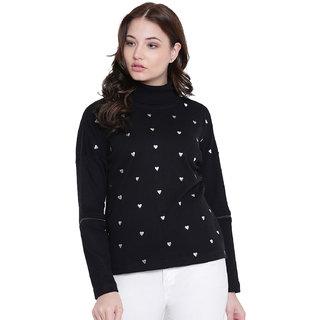 Texco Black Non Hooded Sweatshirt for Women