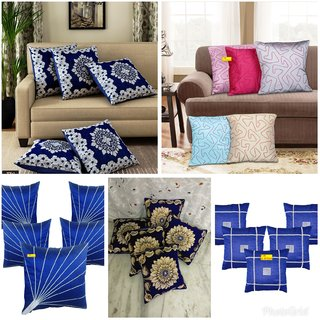 Fab Nation Set of 5(16X16 inches) Cushion Covers - Royal Blue Handloom