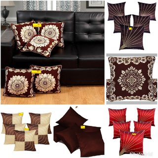 Fab Nation Set of 5 (16X16 inches) Cushion Covers - Embroidery Sun Rays Brown Dupion Silk Fabric