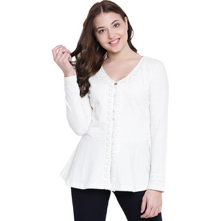 Texco Cream Cotton Lycra Winter Shrug For Women