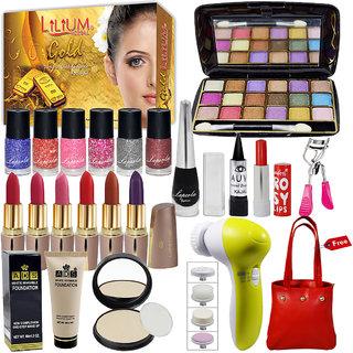 Laperla Exclusive Beauty Combo Makeup Set With Gold Facial Kit,Massager  Handbag