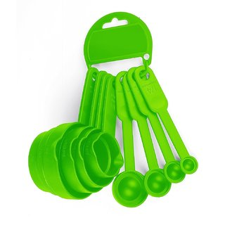 ROTEK Baking  Measurement Measuring  Plastic Cups And Spoons Set 8 Pcs (Green)