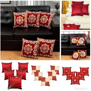 Fab Nation Set of 5 (16X16 inches) Cushion Covers - Embroidery Sun Rays Maroon Dupion Silk Fabric
