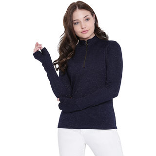 Texco Navy Zippered Sweatshirt for Women