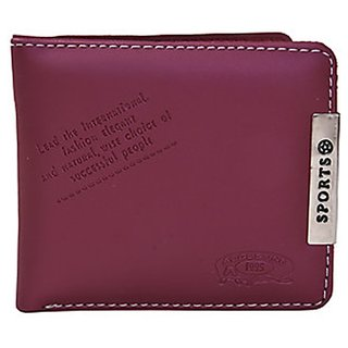 Unique Wine PU Single fold Wallet (Sport-003) (Synthetic leather/Rexine)