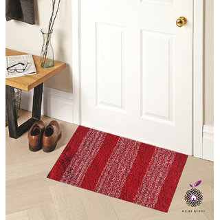 Home Berry Cotton Red Door Mats Set Of 1 (15 X 23 Inches)