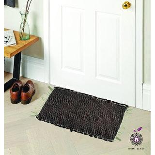 Home Berry Brown Cotton Door Mats Set Of 1 (12 Inch X 18 Inch )