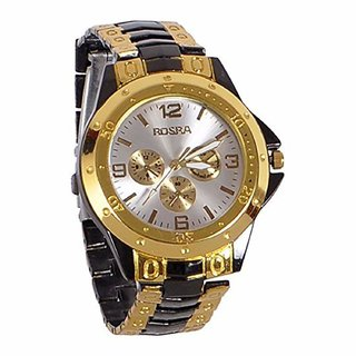 Rosra Silver Round Dial Metal Gold Strap Analog Watch For Men
