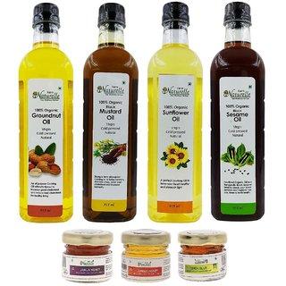 Organic Cold Pressed Virgin (Kachi Ghani) Mustard Oil, Groundnut Oil (Peanut Oil), Sunflower Oil,  Sesame oil 915x4 ml