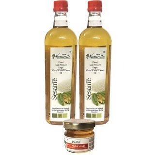 2 Virgin Sesame Oil (2x915ML)+Free Raw Jungle/Forest honey worth Rs.49/-+The Finest-FSSAI Certified-Sesame/Gingelly/Til