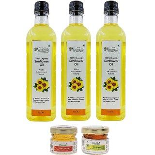 Farm Naturelle (Farm Natural Produce) Organic Virgin Cold Pressed (Kachi Ghani) Golden Sunflower Cooking Oil Pack Of 915
