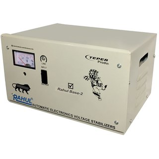 Rahul Base-2 c2.5 KVA/10 AMP 140-280 Volt 3 Step Submersible Water Pump/ 2 Computers Set/Deep Fridge Stabilizer