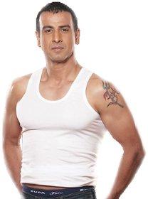 Rupa Jon Men Solid Cotton Vest (White)