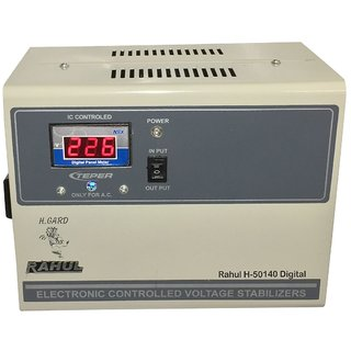 Rahul H-50140 a Digital 5 KVA/20 AMP In Put 140-280 Volt 3 Step Best Suitable For 2 Tonns Air Conditioners Stabilizer