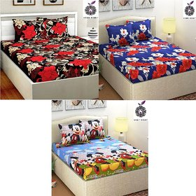 Home Berry Fusion Polycotton 3 Double Bedsheet With 6 Pillow Covers (HCHB-34)