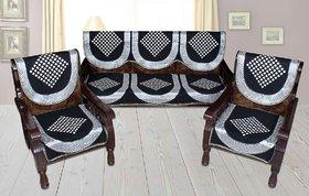 Manvi Creations Black Diamond Cotton Sofa Covers Set Of 6