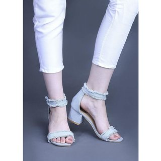 Estatos Denim Blue Mesh Style Buckle Closure Ankle Strap Open Toe Block Heel