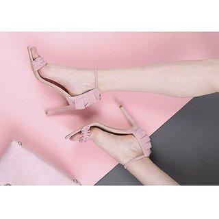 Estatos Leather Pink Buckle Closure Ankle Strap Open Toe Stilettos