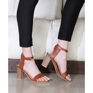 Estatos Leather Brown Mesh Style Buckle Closure Open Toe Block Heels