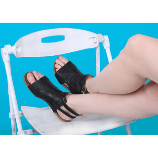 Estatos Black Mesh Style Buckle Closure Ankle Strap Open Toe Flats