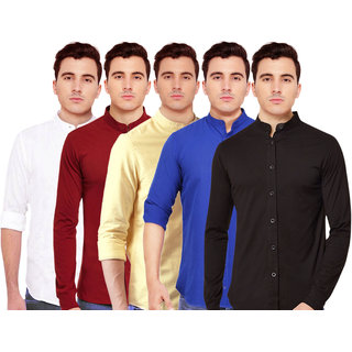 Spain Stylees Men's Multicolor Regular Fit Casual Shirt (Pack Of 5)