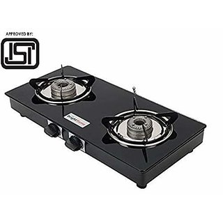 BrightFlame ISI Marked 2 Burner Glass Top Gas Stove (Compact Z-Black)