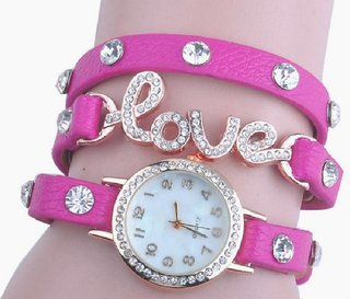 Round Dial Pink Leather Strap Analog Watch for Women