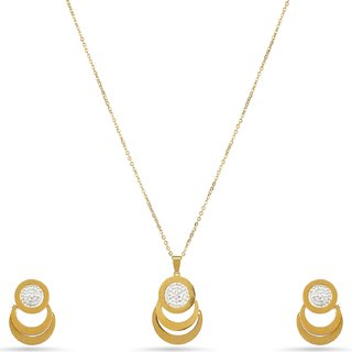 Fashion Necklace with Earings Gold