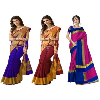 Indian Beauty Women's Tussar Silk Bollywood Deigner Saree With (Pack of 3) Sarees