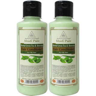 Khadi Pure Herbal Green Tea  Aloevera Hair Conditioner - 210ml (Set of 2)