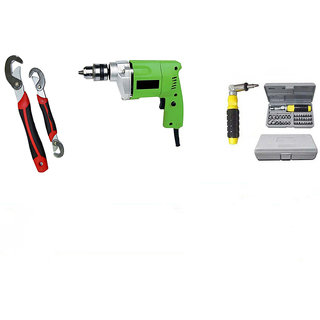 GBT 10mm Electric Drill Machine With Snap N Grip Wrench Set And 41 Pcs Tool Kit Set