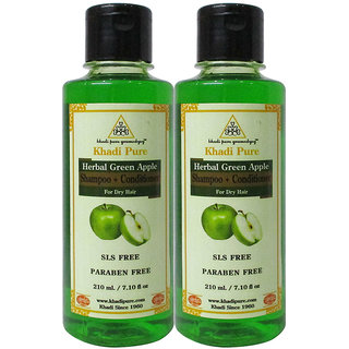 Khadi Pure Herbal Green Apple Shampoo + Conditioner SLS-Paraben Free - 210ml (Set of 2)