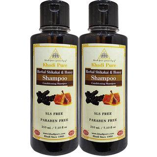 Khadi Pure Herbal Shikakai  Honey Shampoo SLS-Paraben Free - 210ml (Set of 2)