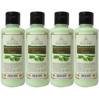 Khadi Pure Herbal Green Tea  Aloevera Hair Conditioner - 210ml (Set of 4)
