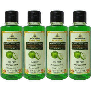 Khadi Pure Herbal Green Apple Shampoo + Conditioner SLS-Paraben Free - 210ml (Set of 4)
