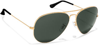 David Martin Green & Gold Medium Full Rim Aviator Metal Unisex Sunglasses