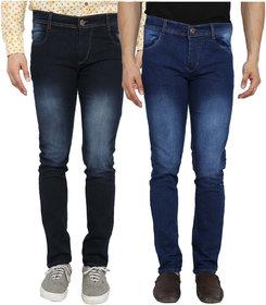 Spain Style Men's Pack of 2  Slim Fit Multicolor Jeans
