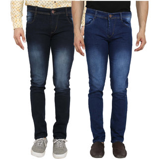 Spain Style Men's Pack of 2  Slim Fit Multicolor Jeans