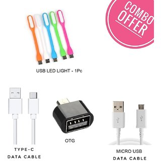 Combo of Type C  Micro USB Data Cable, OTG Adaptor and Led Light (Assorted Colors)