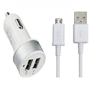 Dual port Car charger with USB Cable Multicolor