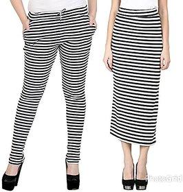 Raabta Fashion Strip Drosting Pant N Skirt Set of Two Combo