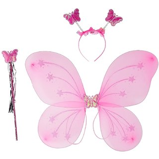 Butterfly Wings Magic Wand and Hairband Fairy Costume Set. Size- 35/35 cm.