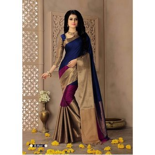 Indian Beauty Multicolor Cotton Art Silk Embellished Saree With Blouse
